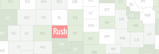 Rush County Map